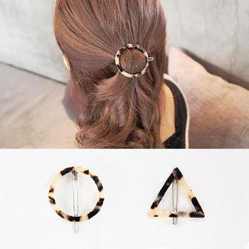ArFFi 艾菲 韓系時髦線條豹紋髮夾珠釦夾-三角/圓形