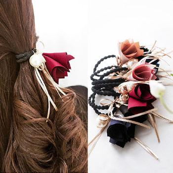 ArFFi 艾菲 韓系緞面花苞蝴蝶結髮圈髮束-深藍/酒紅/甜粉