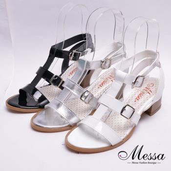 【Messa米莎專櫃女鞋】MIT 漆皮羅馬繫帶金屬扣高跟涼鞋-三色-型(網)