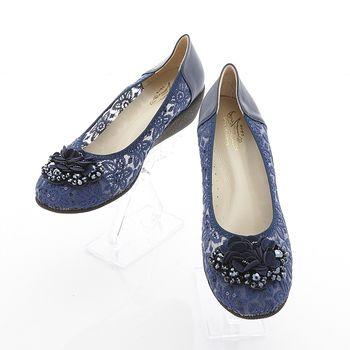 母子鱷魚蕾絲手工增高鞋