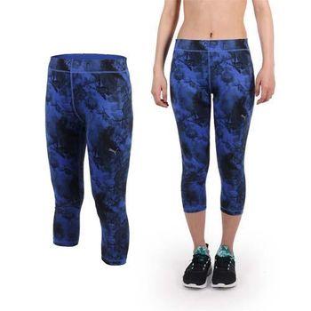 【PUMA】女印花緊身七分褲-內搭褲 緊身褲 慢跑 路跑 瑜珈 吸溼排汗 藍黑