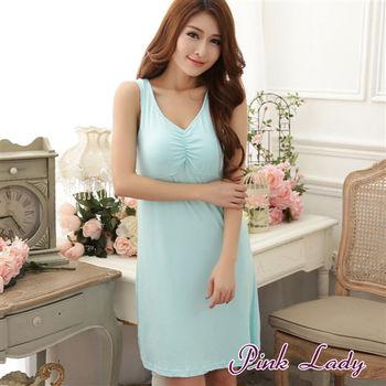 【PINK LADY】免穿內衣牛奶絲混紡 柔爽透氣BraT洋裝睡衣168 (湖水綠)