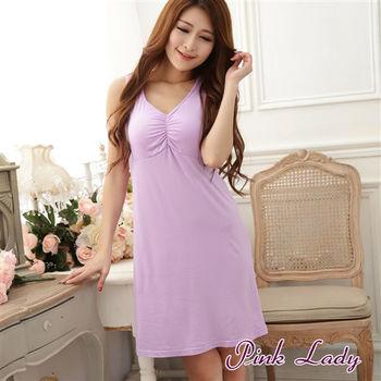 【PINK LADY】免穿內衣牛奶絲混紡 柔爽透氣BraT洋裝睡衣168 (紫)