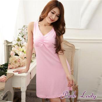 【PINK LADY】免穿內衣牛奶絲混紡 柔爽透氣BraT洋裝睡衣168 (粉)