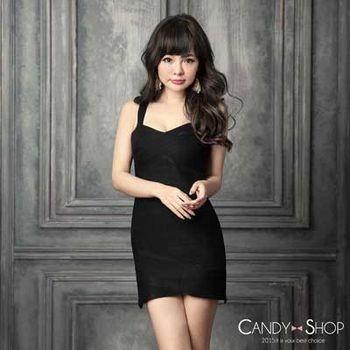 Candy小舖 小V領繃帶針織洋裝 - 黑色