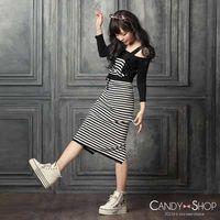 Candy小舖 休閒條紋吊帶針織洋裝 ^#45 深鐵灰