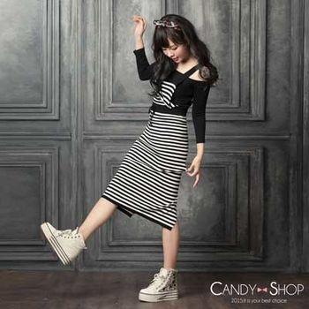Candy小舖 休閒條紋吊帶針織洋裝 - 深鐵灰