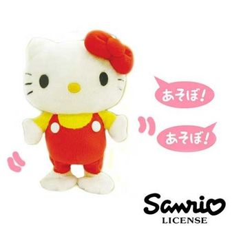 日本進口三麗鷗正版Hello Kitty錄音說話娃娃-吊帶褲版