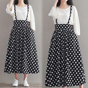 【韓國KW-韓時尚 】復古點點吊帶裙