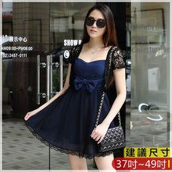 WOMA-S6066韓款甜美蕾絲淑女假兩件修身洋裝(藍色)WOMA中大尺碼洋裝