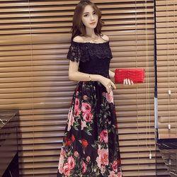 KOVLL中大尺碼黑色蕾絲拼接雪紡印花長洋裝