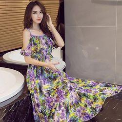 KOVLL中大尺碼紫色波西米亞印花連身長裙