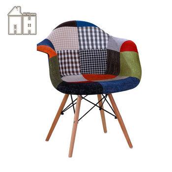 【AT HOME】迪妮扶手彩色布餐椅