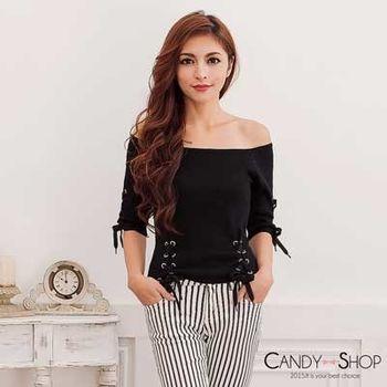Candy小舖 一字領素面針織長袖綁帶上衣 - 黑色