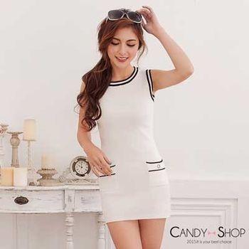 Candy小舖 氣質背心素面針織短洋+長袖針織排扣外套兩件式 - 白色