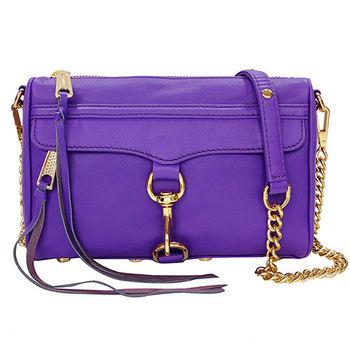 REBECCAMINKOFF MINI MAC肩/斜背包(紫色金鍊)