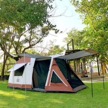 LIFECODE《豪華二房》4-6人雙層帳篷(附1組前庭撐桿)-高225cm (咖啡色)