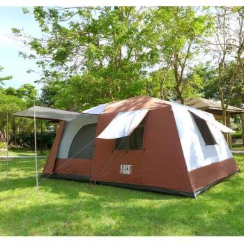 LIFECODE《二房一廳》抗紫外線超大8人帳篷(二門四窗)-咖啡色