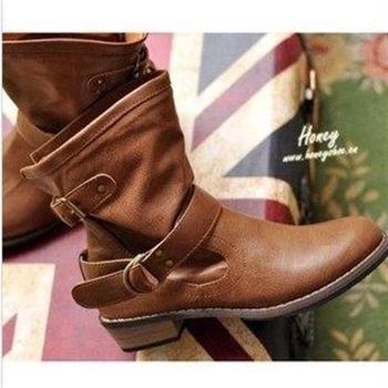Dingle   韓風雙扣環中筒騎士靴 明星爆款大碼短靴子