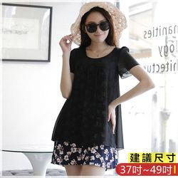 WOMA-S6076韓款優雅圓領假兩件印花修身上衣(黑色)WOMA中大尺碼上衣
