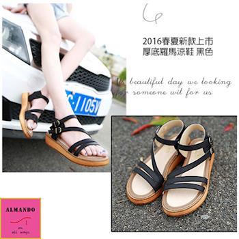 ALMANDO-SHOES★2016新款歐美厚底羅馬涼鞋★鬆糕平底涼鞋(黑色)