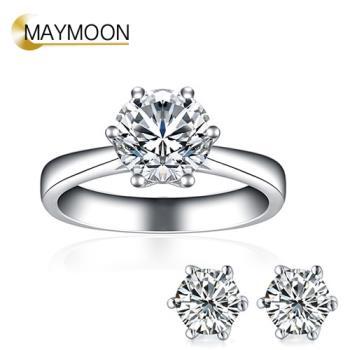 MAYMOON 永恆經典 30分天然鑽石戒指耳環組(經典六爪鑲)