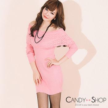 Candy小舖 甜美一字領荷葉邊羅紋針織長袖短洋 - 淺粉色