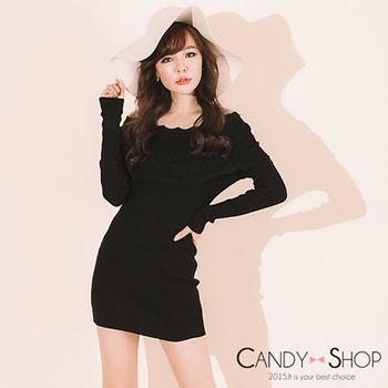 Candy小舖 甜美一字領荷葉邊羅紋針織長袖短洋 - 黑色