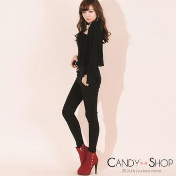 Candy小舖 復古高腰排釦顯瘦雪花黑彈性長褲