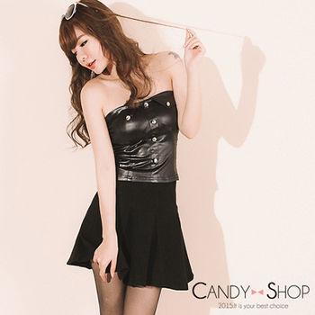 Candy 小舖 小資女孩A字百褶彈性厚棉短裙