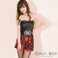 Candy小舖 平口露肩皮革拼接針織格紋連身褲 ^#45 紅色
