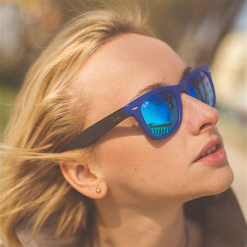 【Ray Ban 雷朋】4105-602017-50 折疊款-水銀鏡面太陽眼鏡(小版#海軍藍)
