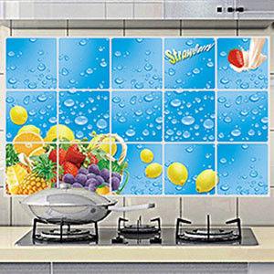 窩自在★廚房清潔高檔鋁箔防油貼紙防油牆貼-夏日水果季