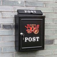 PUSH ^#33 居家 用品 英倫風紅馬車 化信箱郵箱郵筒報紙箱I49