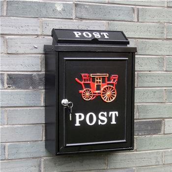 PUSH!居家生活用品 英倫風紅馬車個性化信箱郵箱郵筒報紙箱I49