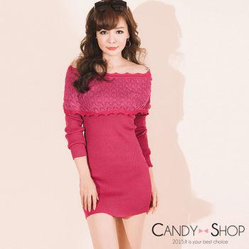 Candy小舖 甜美一字領荷葉邊羅紋針織長袖短洋 - 紅色