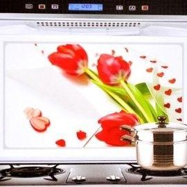窩自在★韓版鋁箔防油貼紙防油貼防油牆貼- 紅色鬱金香