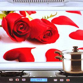 窩自在★韓版鋁箔防油貼紙防油貼防油牆貼-紅玫瑰