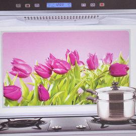窩自在★韓版鋁箔防油貼紙防油貼防油牆貼-紫色鬱金香