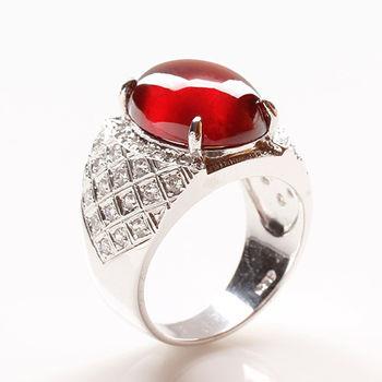 【寶石方塊】綽約多姿天然紅榴石戒指-925銀飾