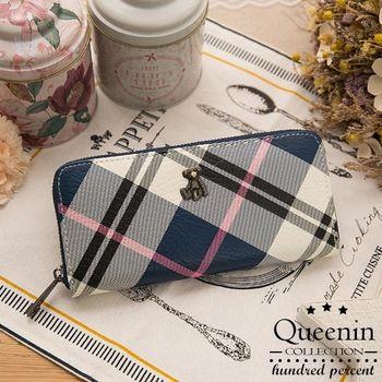 DF Queenin皮夾 - 蘇格蘭風情格紋系小熊長夾