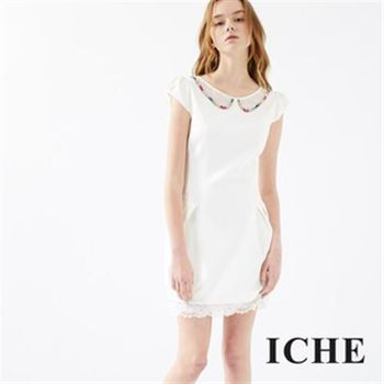【ICHE 衣哲】寶石領片蕾絲洋裝