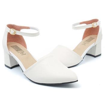【 cher美鞋】性感弧線素面低跟尖頭鞋♥白色♥A503-03