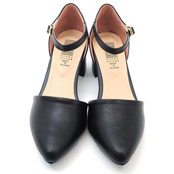 【 cher美鞋】性感弧線素面低跟尖頭鞋♥黑色♥A503-03