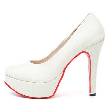 【 cher美鞋】亮麗金蔥高跟鞋♥白色♥7616-03