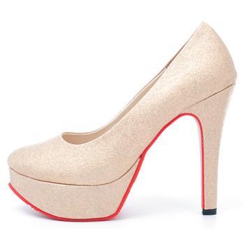 【 cher美鞋】亮麗金蔥高跟鞋♥香檳色♥7616-03