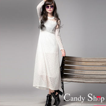 CANDY小舖 純白透膚蕾絲珍珠長洋裝