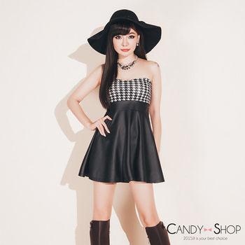 Candy小舖 熱銷千鳥格紋平口露肩拼接皮革短洋裝 - 白色