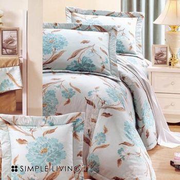 【SIMPLE LIVING】花語飄香雙人三件式床包組(藍)