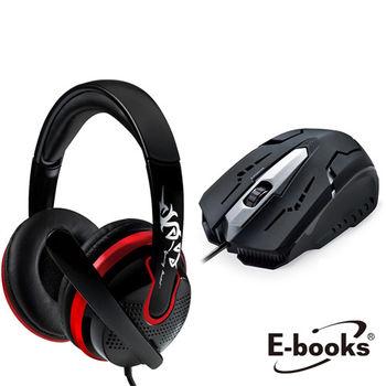 【線上資展電競特惠組】電競組 E-books S27 電競頭戴耳機麥克風+ M21 電競光學滑鼠